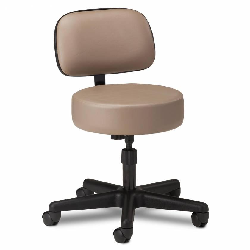 "Clinton 2130-21 5-Leg Spin Lift Stool With Backrest & 24"" Diameter Black Base"