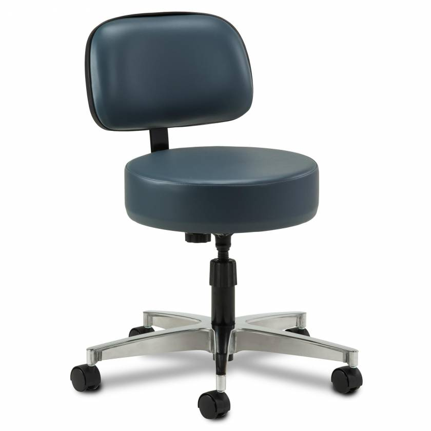 "Clinton Model 2150-21 5-Leg Spin-Lift Stool With 23"" Cast Aluminum Base & Backrest"