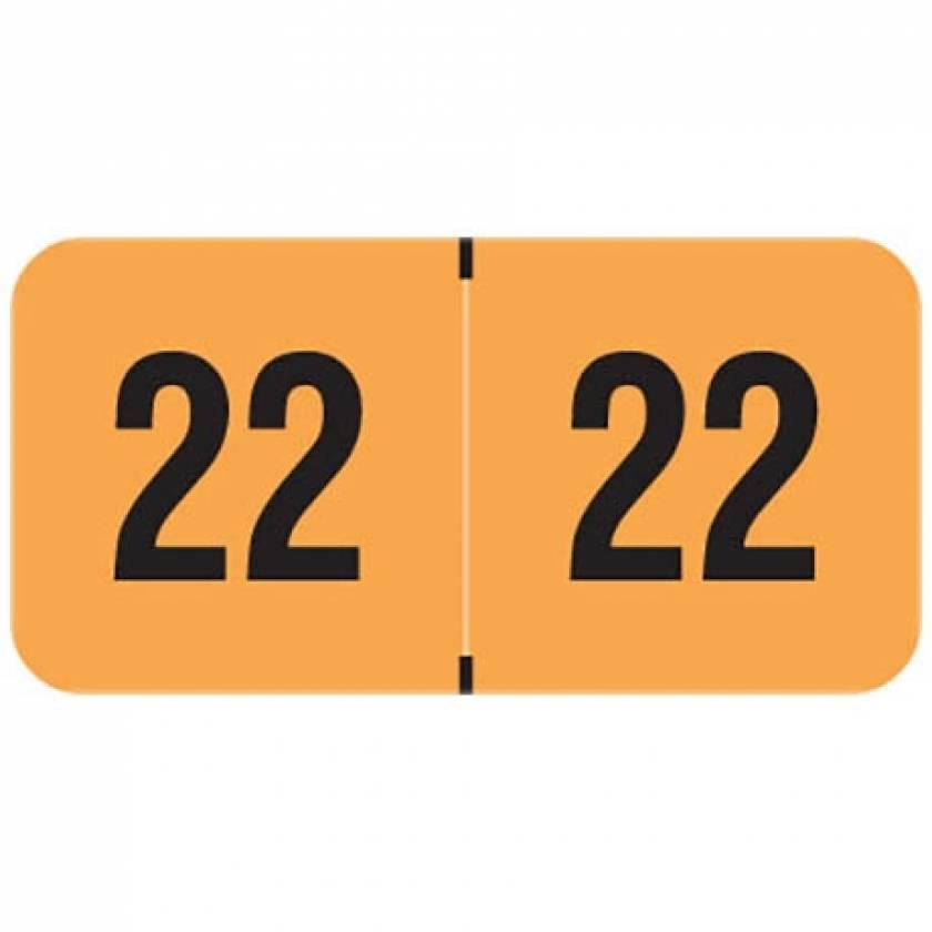 "2022 Year Labels - PMA Fluorescent Orange - Size 3/4"" H x 1 1/2"" W"