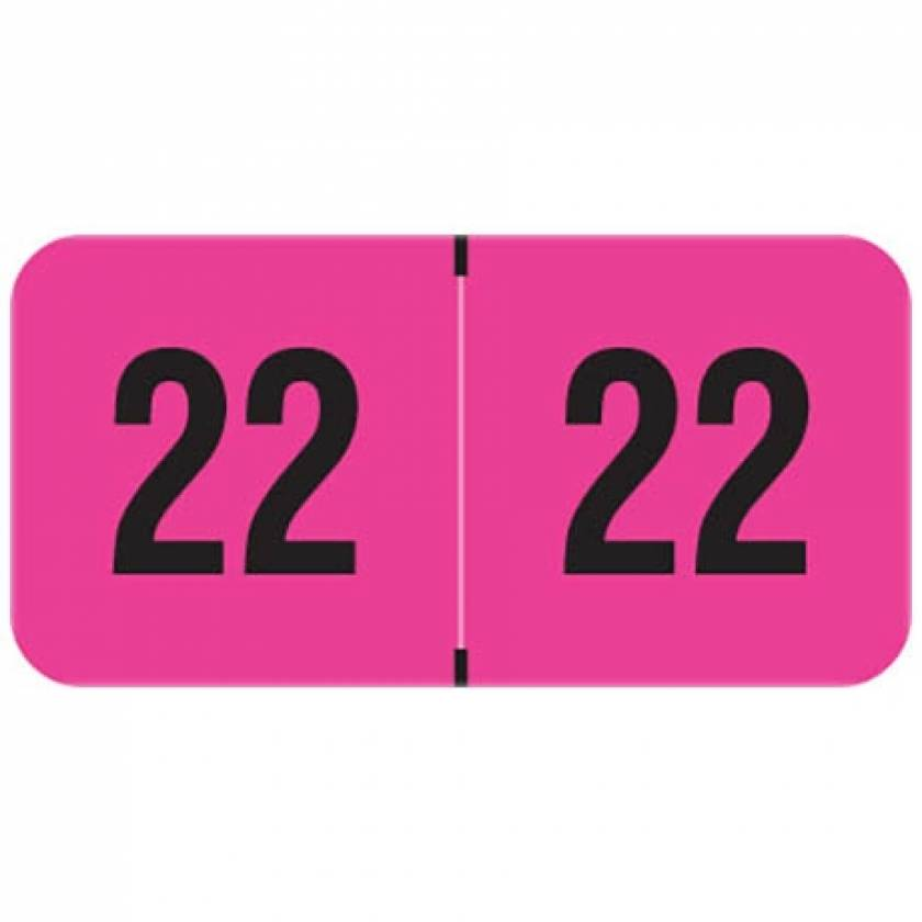 """2022 Year Labels - PMA Fluorescent Pink - Size 3/4"""" H x 1 1/2"""" W"""