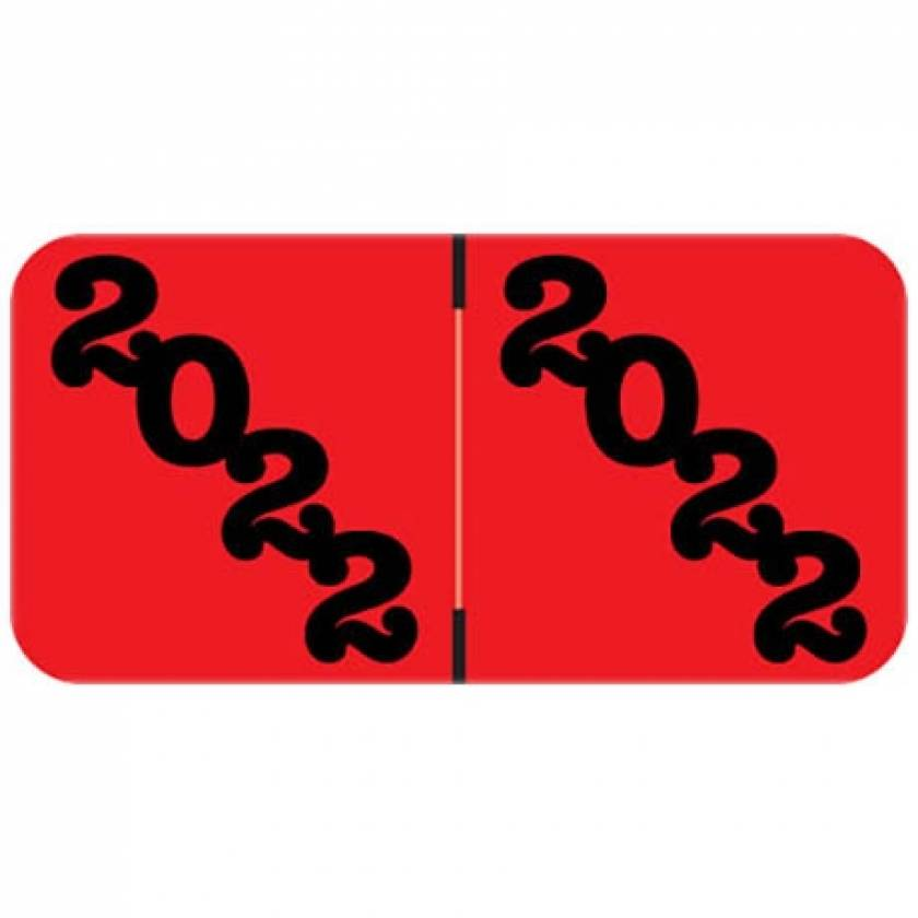 """2022 Year Labels - Jeter Compatible - Size 3/4"""" H x 1 1/2"""" W - Red Label"""