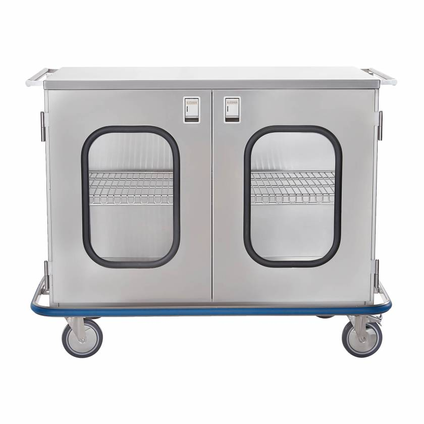 Blickman Stainless Steel Maxi Case Cart Model CCC1-19G with Double Glass Doors