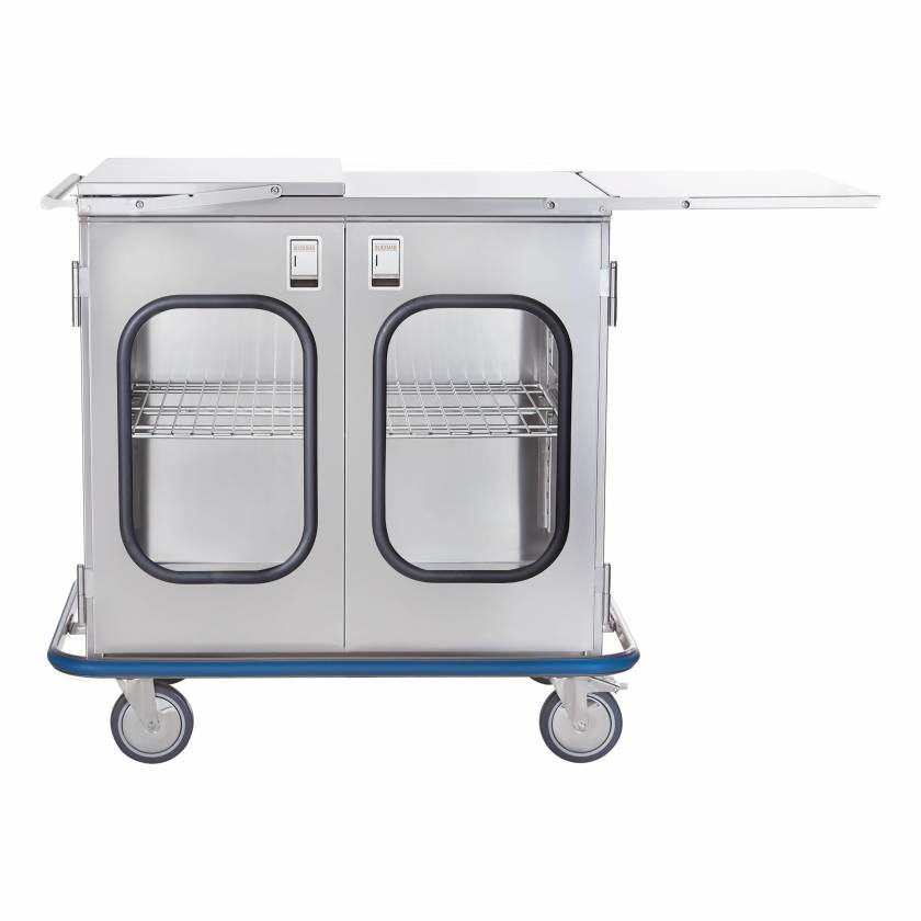 Blickman Stainless Steel Multi-Purpose Case Cart Model CCC2E-19G - Double Glass Doors & Extension Shelves