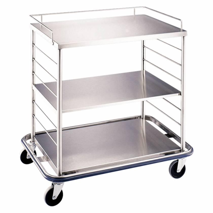 Blickman Stainless Steel Open Case Cart Model OCC3 - Solid Shelves