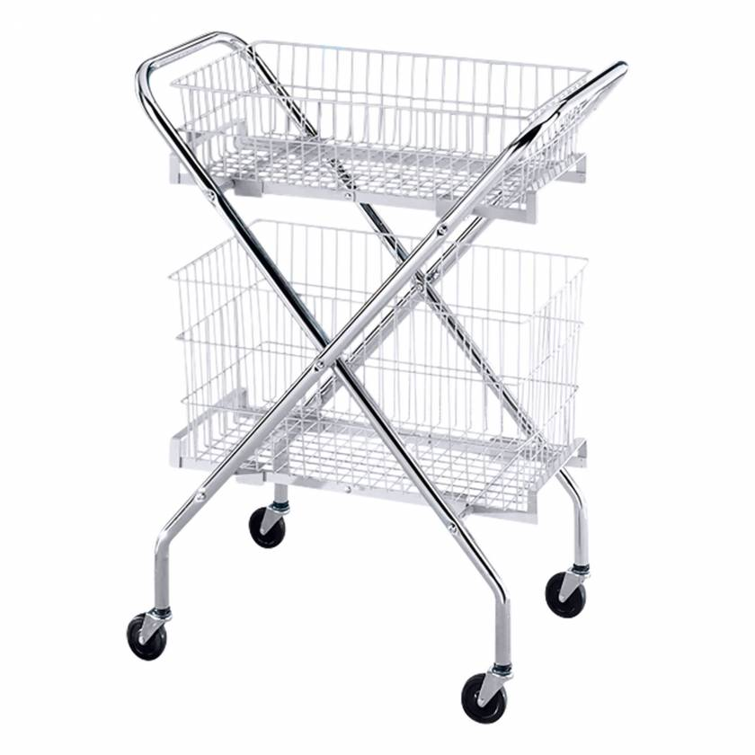 Blickman Chrome Wire Basket Multi Purpose Utility Cart