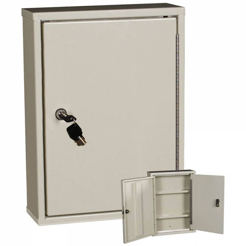 "Harloff 2801AQ Heavy Duty Narcotics Cabinet, Double Door Double Lock, Thin Profile 15""H x 11""W x 4""D"