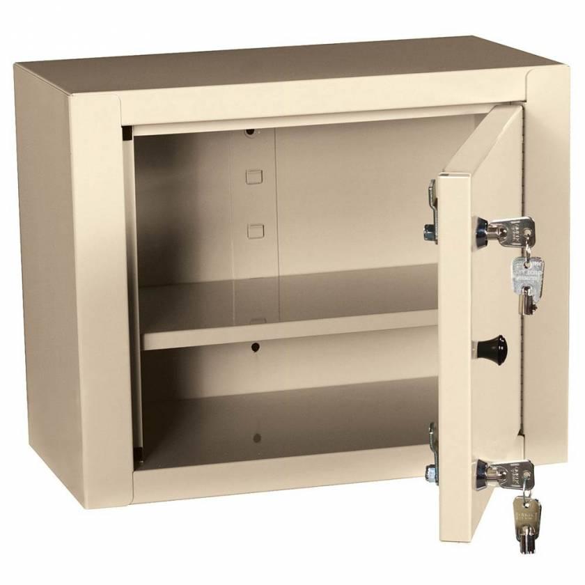 "Harloff 2825AQ Medium Narcotics Cabinet, Single Door Double Lock, 12""H x 15""W x 8""D"