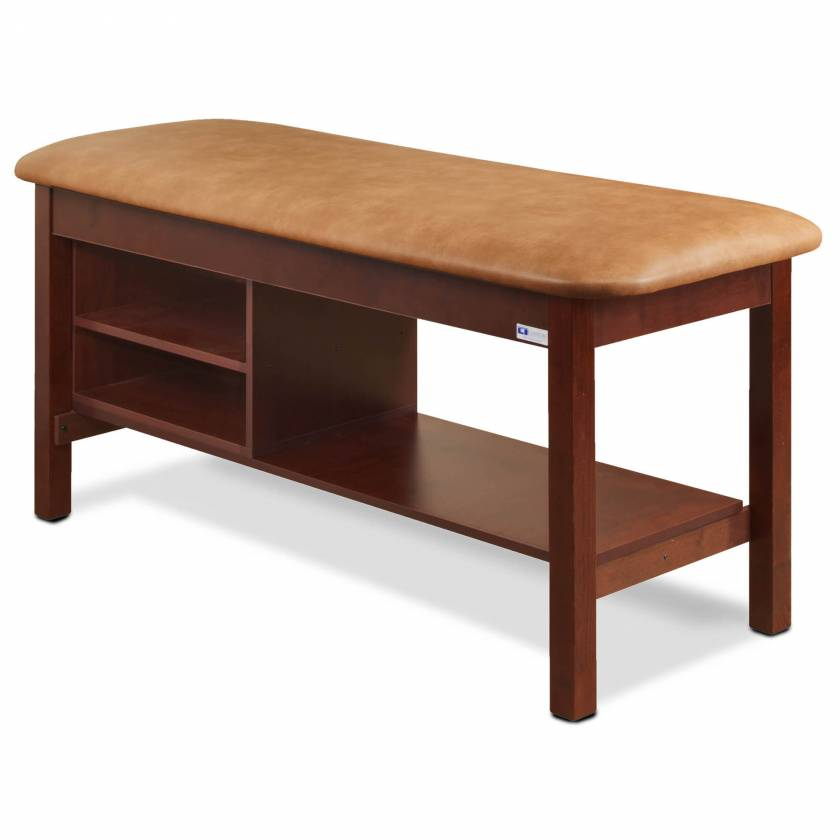 Clinton Model 300 Flat Top Classic Series Straight Line Treatment Table with Shelving