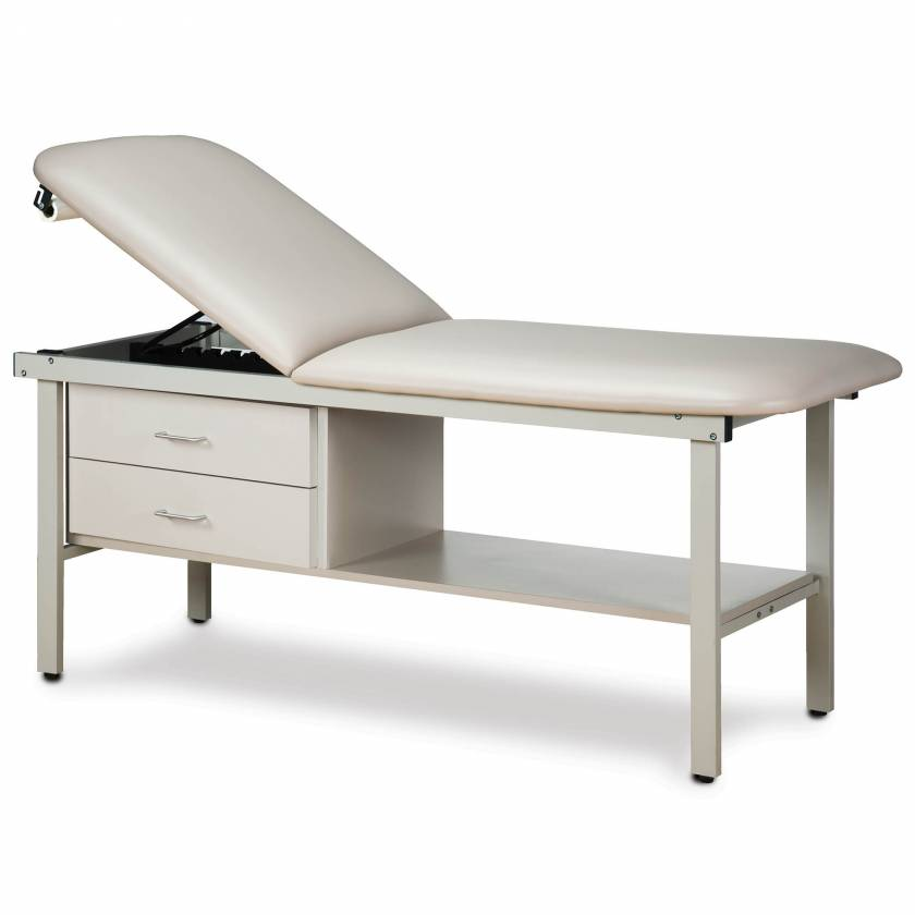 Clinton Model 3013 Alpha Series Treatment Table with Adjustable Backrest, Shelf & 2 Drawers