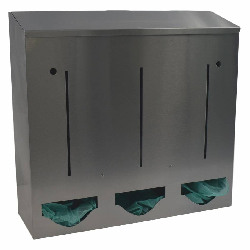 OmniMed 307023 Stainless Bulk Dispenser - Triple Compartment