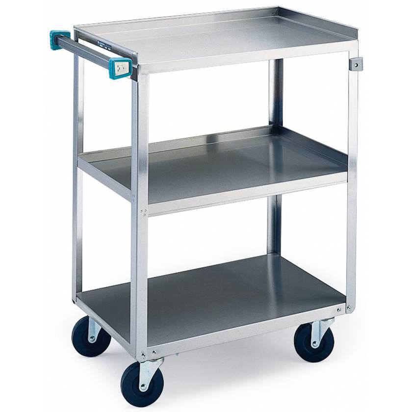 SS Angled Leg Utility Cart - 3 Shelves - Standard Duty 300 lbs Capacity