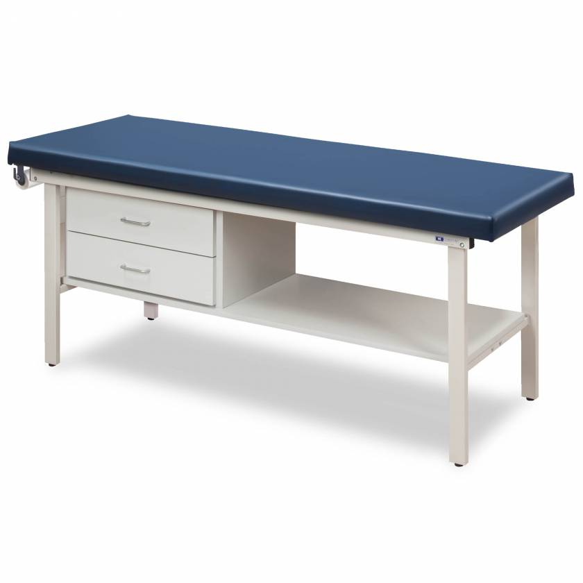 Clinton Model 3130 Flat Top Alpha-S Series Straight Line Treatment Table with Shelf & 2 Drawers