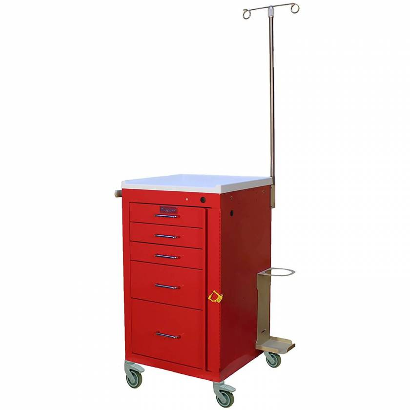 Harloff 3145B-EMG Mini Line Emergency Cart Short Five Drawer - Specialty Accessory Package with Breakaway Lock