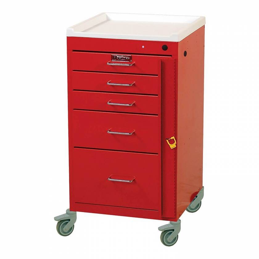 Harloff 3145B Mini Line Emergency Cart Short Five Drawer - Standard Package with Breakaway Lock