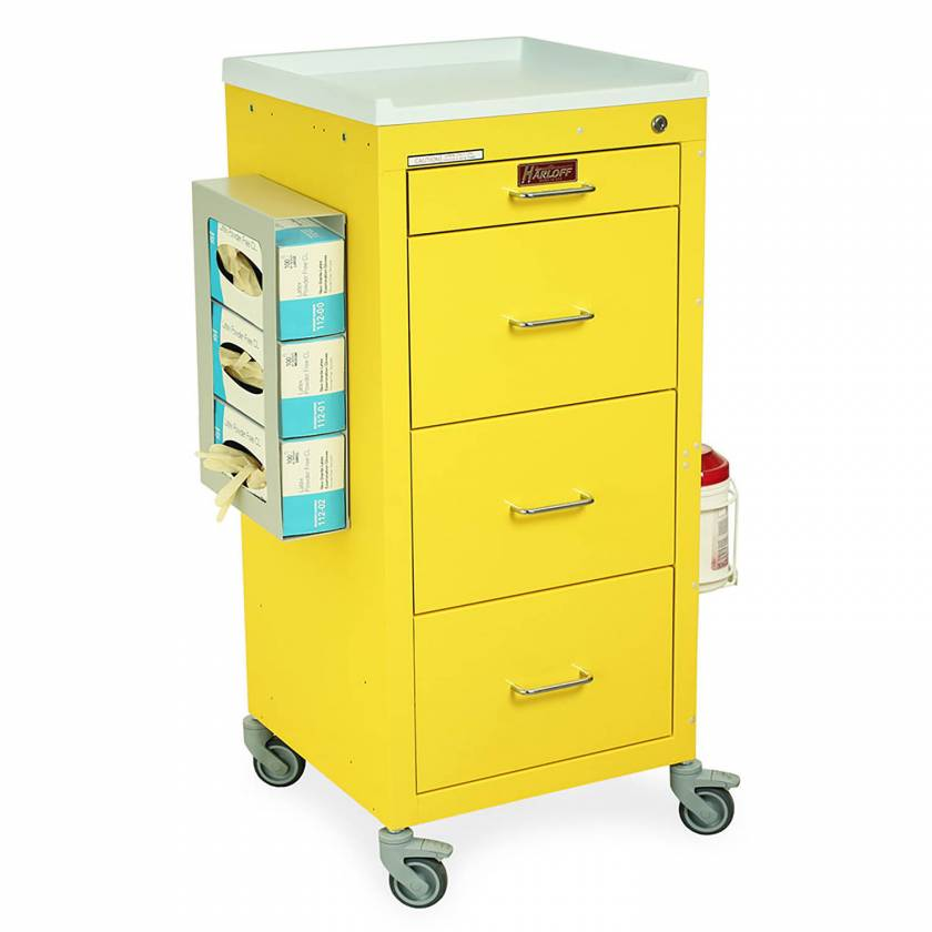 Harloff 3154KQ-PPE Mini Line Tall Isolation Cart Four Drawer with Key Lock, PPE Package - Quick Ship