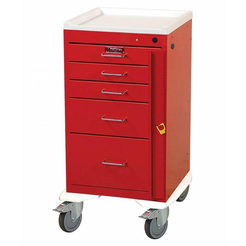 "Harloff Mini Line 18"" Wide Short Emergency Cart Five Drawer with Breakaway Lock"