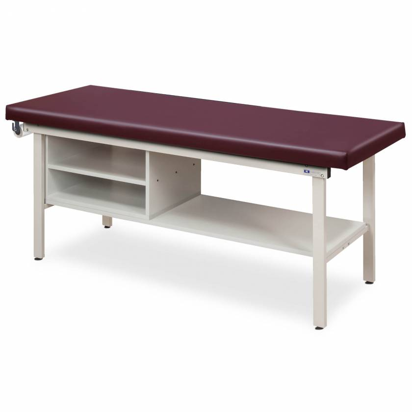 Clinton Model 3300 Flat Top Alpha-S Series Straight Line Treatment Table with Shelving