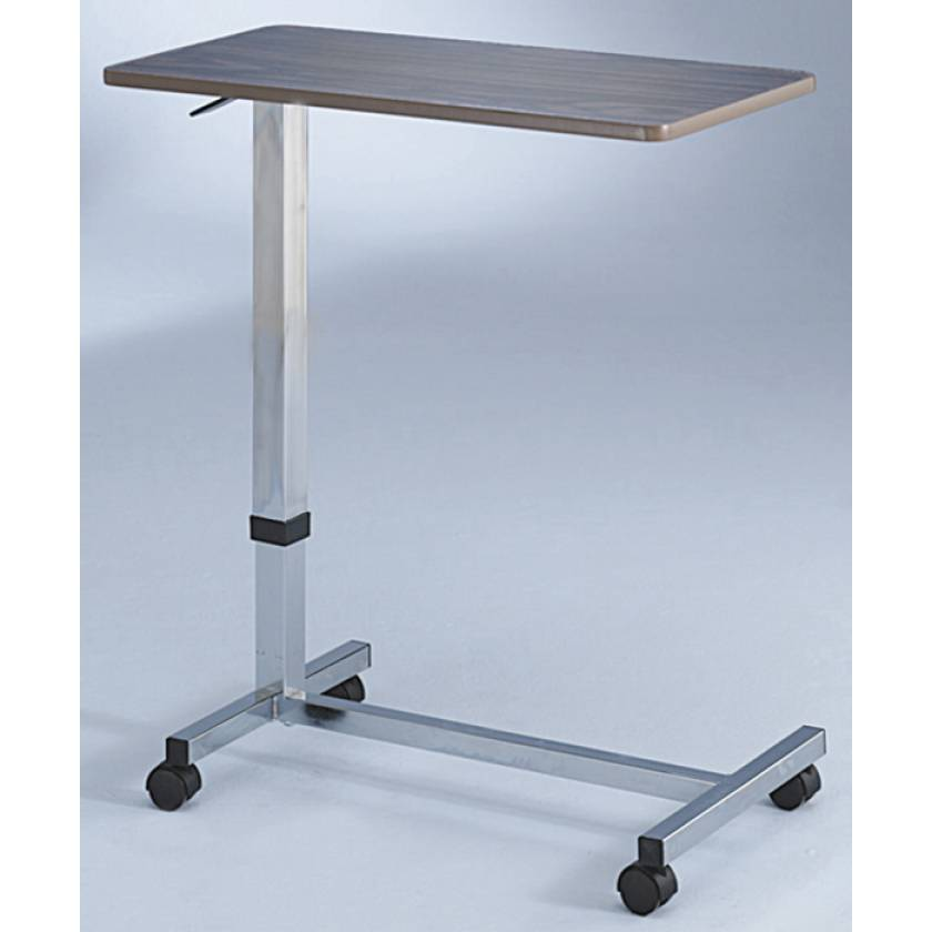 Overbed Table - Wood Grain with One-Touch Adjustment