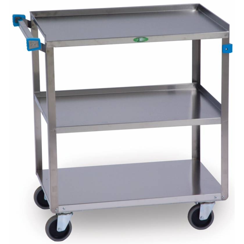 Lakeside SS Angled Leg Utility Cart - 3 Shelves - Medium Duty 500 lbs Capacity