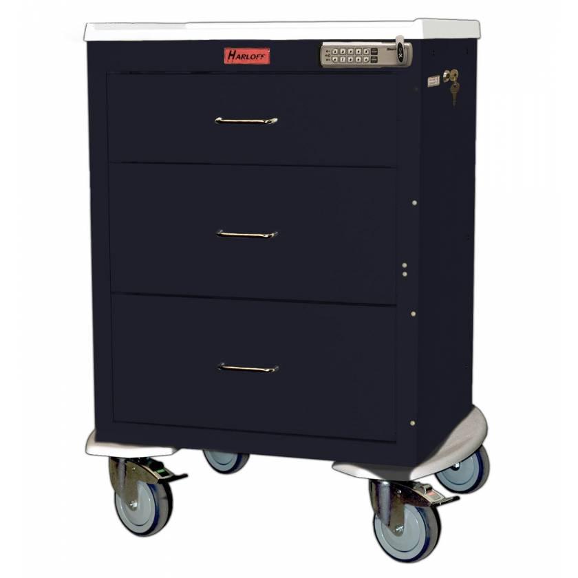 Harloff 4243E Mini24 Short Isolation Cart 3 Drawer - Basic Electronic Pushbutton Lock with Key Lock Override