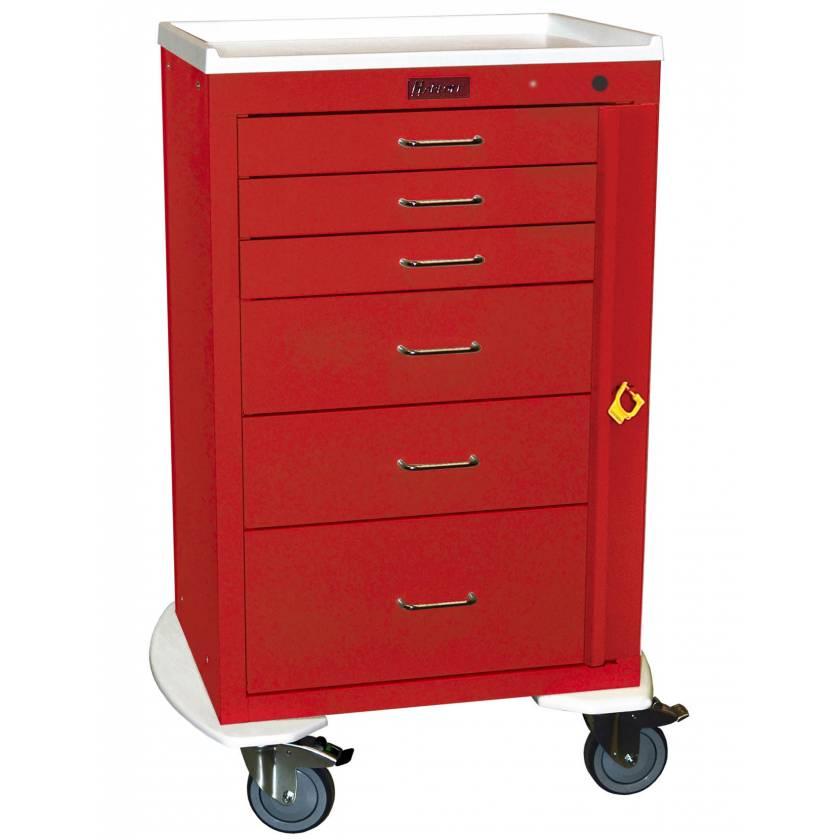 "Harloff 4256B Mini24 24"" Wide Tall Emergency Cart 6 Drawer with Breakaway Lock Pontoon Bumper"