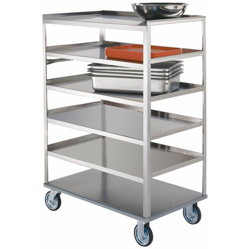 Lakeside SS Medium Duty Multi-Shelf Carts - All Edges Down - Perimeter Bumper (6-Shelf)