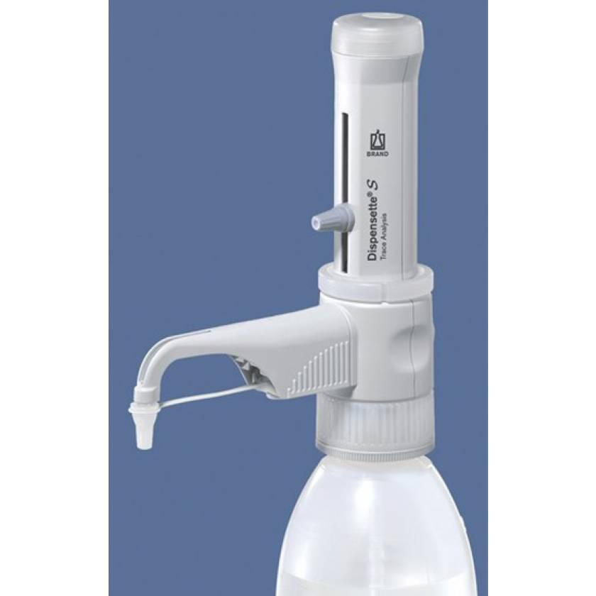 BrandTech Dispensette S Trace Analysis Bottletop Dispenser - Analog Adjustable with Standard Valve - Volume 1-10mL