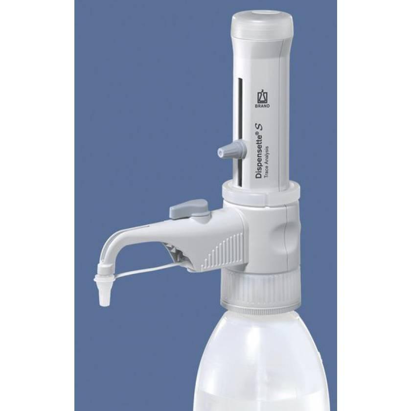 BrandTech Dispensette S Trace Analysis Bottletop Dispenser - Analog Adjustable with Recirculation Valve - Volume 1-10mL