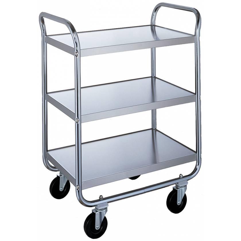 Lakeside Chrome Tubular Utility Cart - 3 Stainless Steel Shelves - Medium Duty 500 lbs Capacity