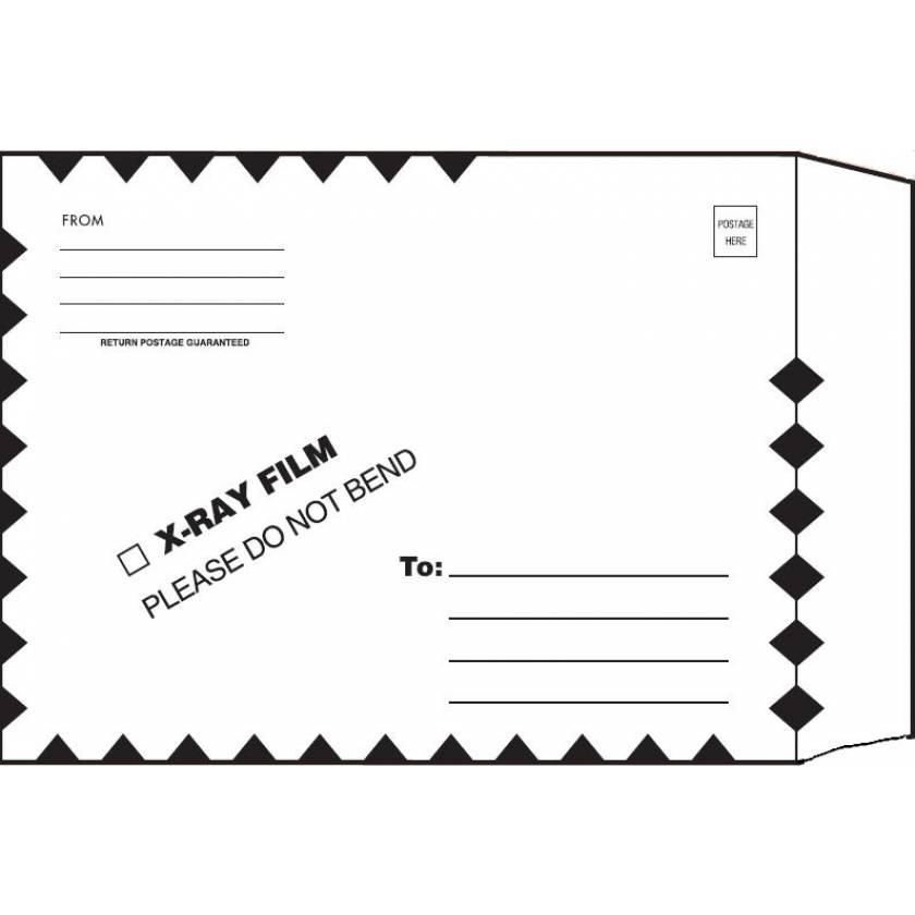 "11"" x 13"" Open End X-Ray Film Mailer - Manila Ungummed Flap - Green Diamond Border"