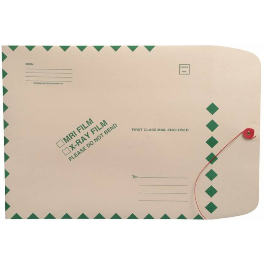 "11"" x 13"" Open End X-Ray Film Mailer - Manila String & Button - Green Diamond Border"