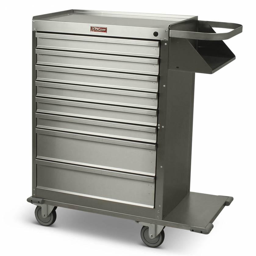 Harloff Model 6020 Stainless Steel Eight Drawer Cast Cart - Standard Package