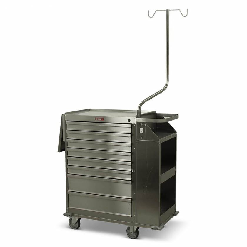 Harloff Model 6025 Stainless Steel Eight Drawer Cast Cart - Deluxe Package