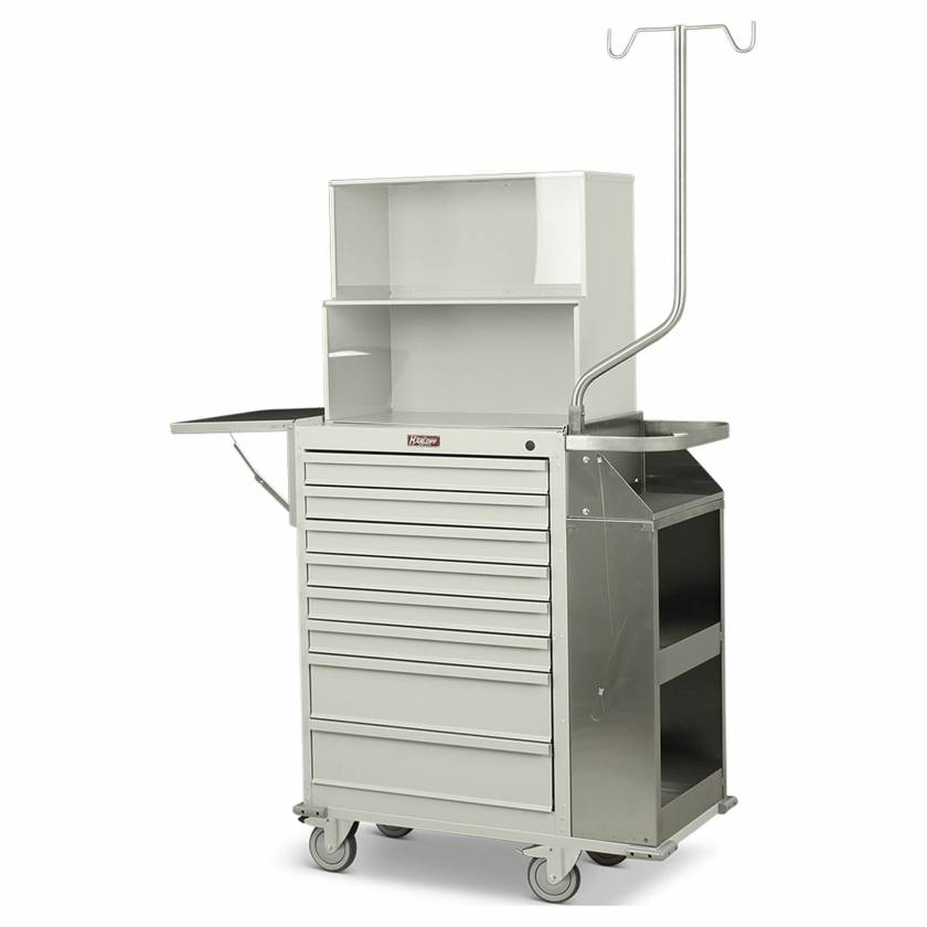 Harloff Model 6035-TC Painted Steel Eight Drawer Cast Cart with Top Compartment - Deluxe Package