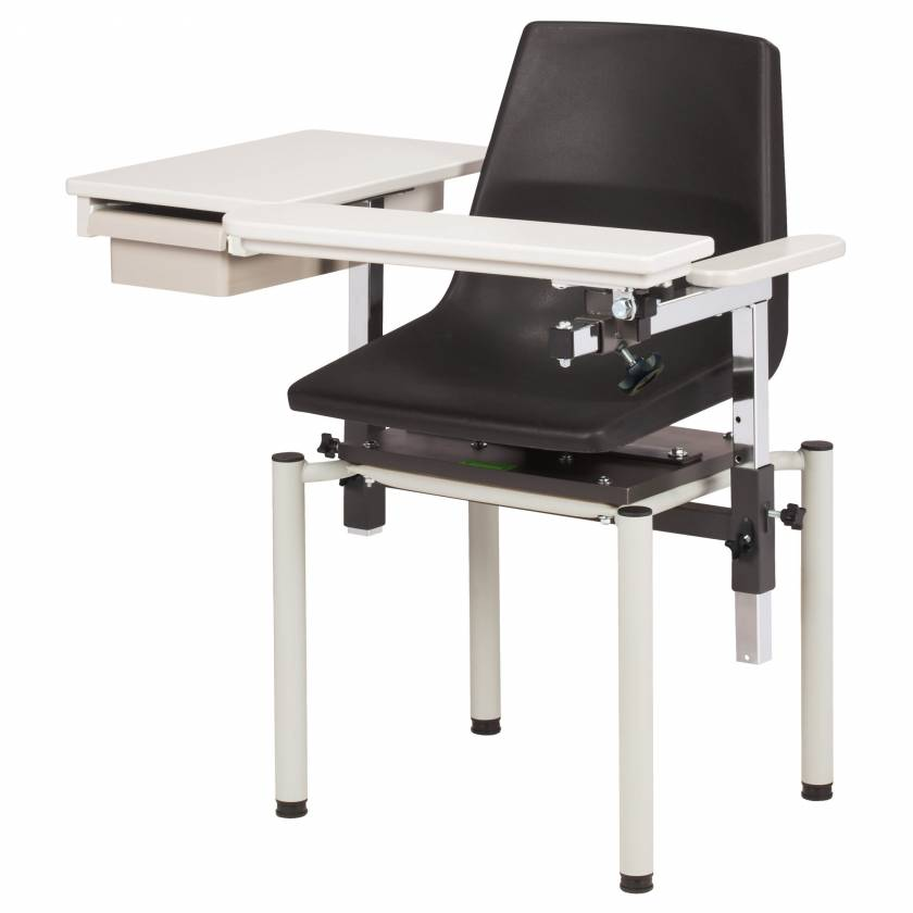 Clinton SC Series E-Z Clean Blood Drawing Chair with ClintonClean Flip Arm and Drawer - Model 6049-P