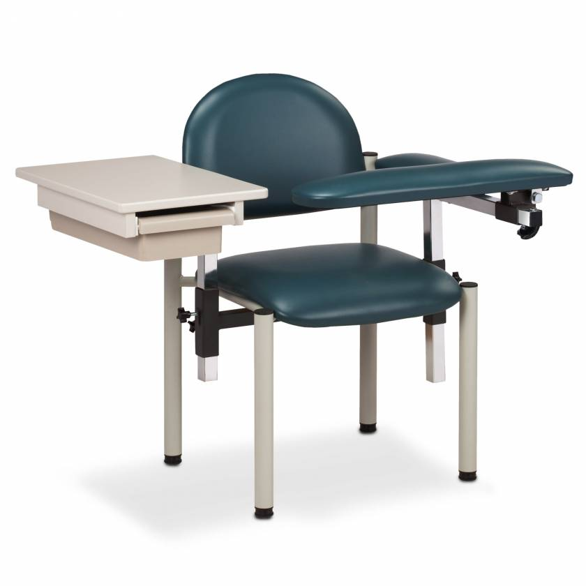 Clinton SC Series Padded Blood Drawing Chair with Padded Flip Arm and Drawer - Model 6059-U