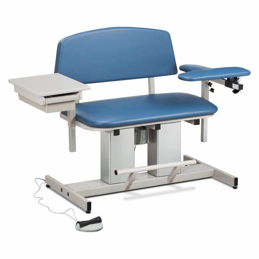 Clinton Power Series Bariatric Blood Drawing Chair with Padded Flip Arm and Drawer Model 6362