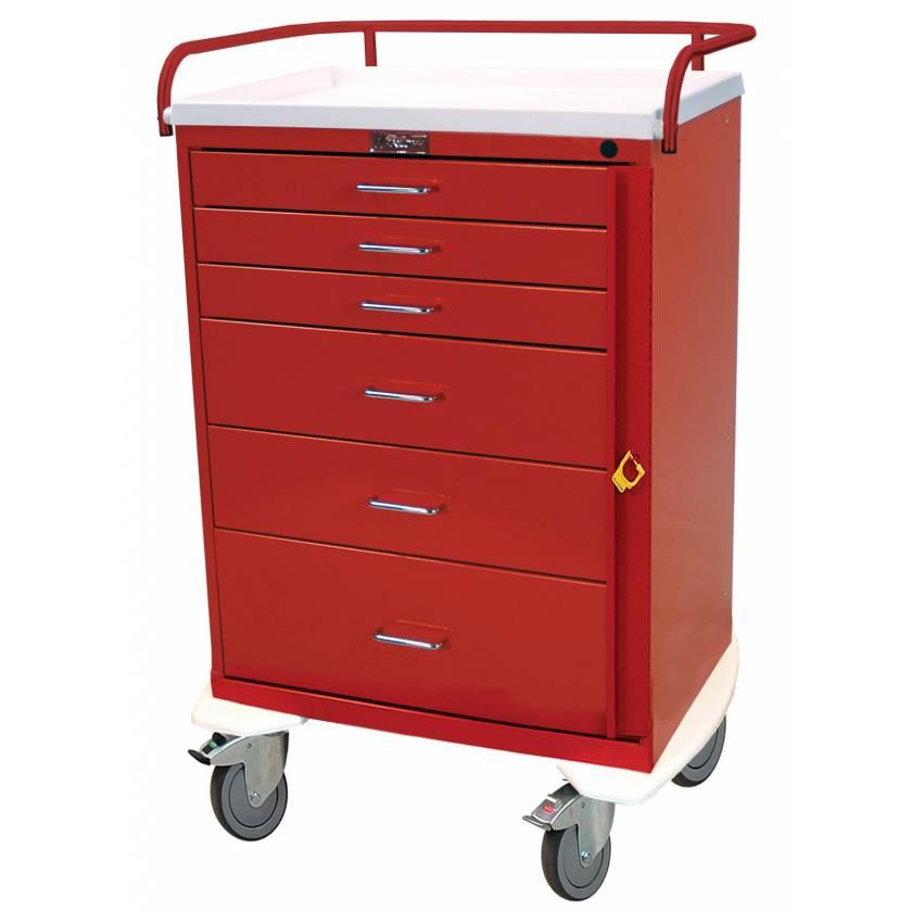 Harloff 6416B Classic Line Tall Emergency Cart 6 Drawer Breakaway Lock