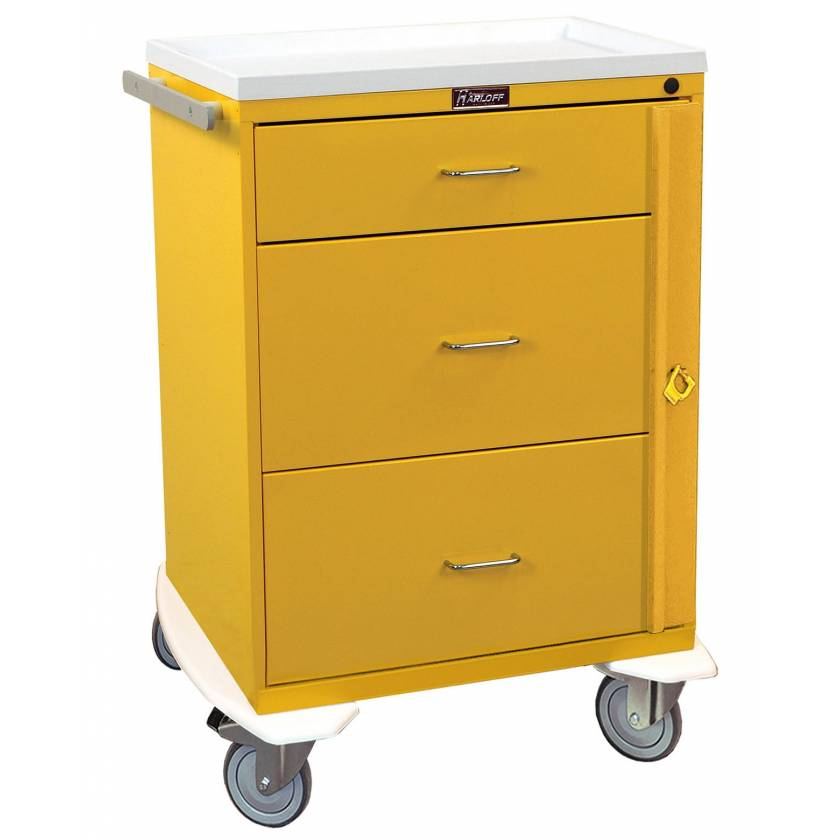 Harloff 6500 Classic Line Infection Control Cart Three Drawer with Breakaway Lock