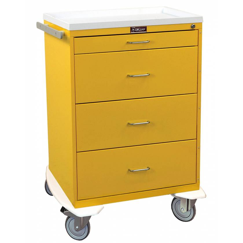 Harloff 6520 Classic Line Infection Control Cart 4 Drawer with Key Lock