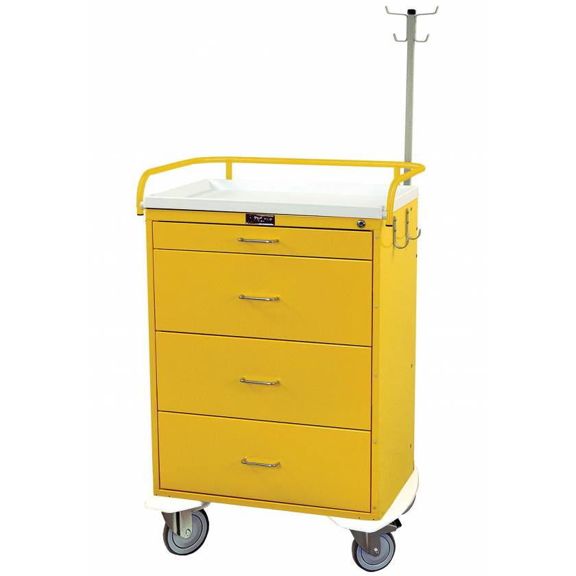 Harloff 6521 Classic Line Infection Control Cart 4 Drawer with Key Lock & Accessory Package