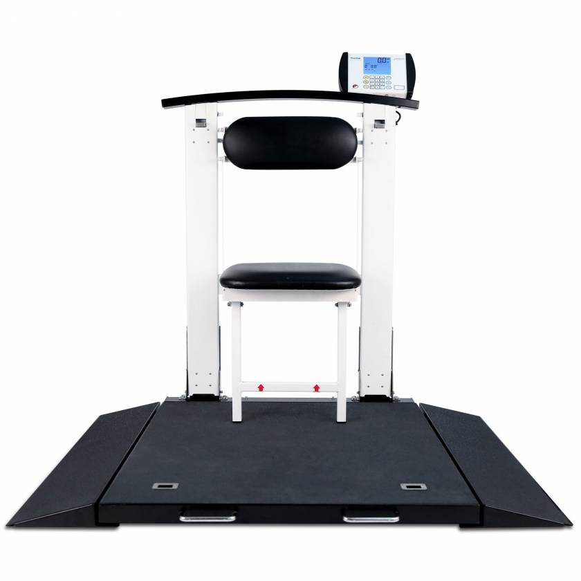 Detecto 6570 Folding Portable Digital Wheelchair Scale with Handrail & Seat