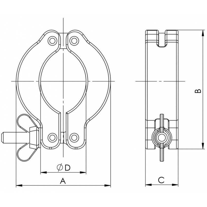 BrandTech Clamping Ring For Small Flange - Aluminum KF DN 10/16mm