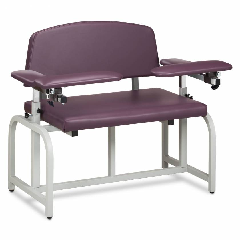 Clinton Model 66000B Lab X Series Bariatric Blood Drawing Chair with Padded Arms - Purplegray