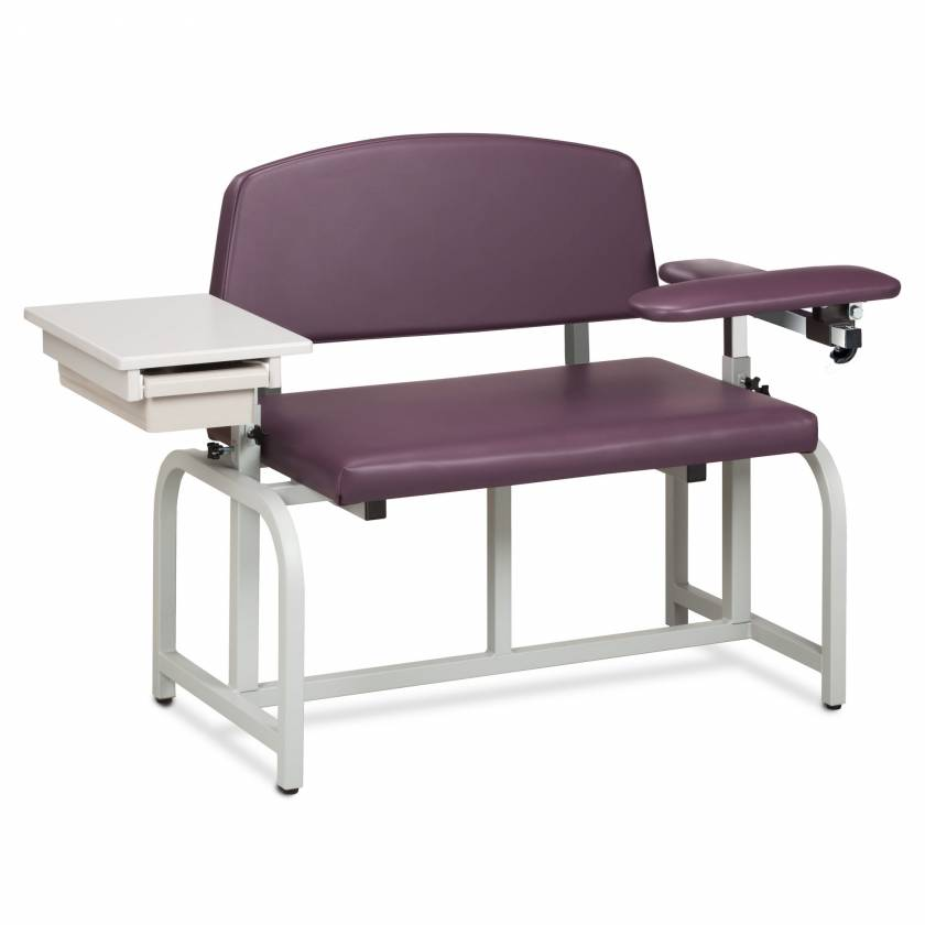Clinton Model 66002B Lab X Series Bariatric Blood Drawing Chair with Padded Flip Arm and Drawer - Purplegray