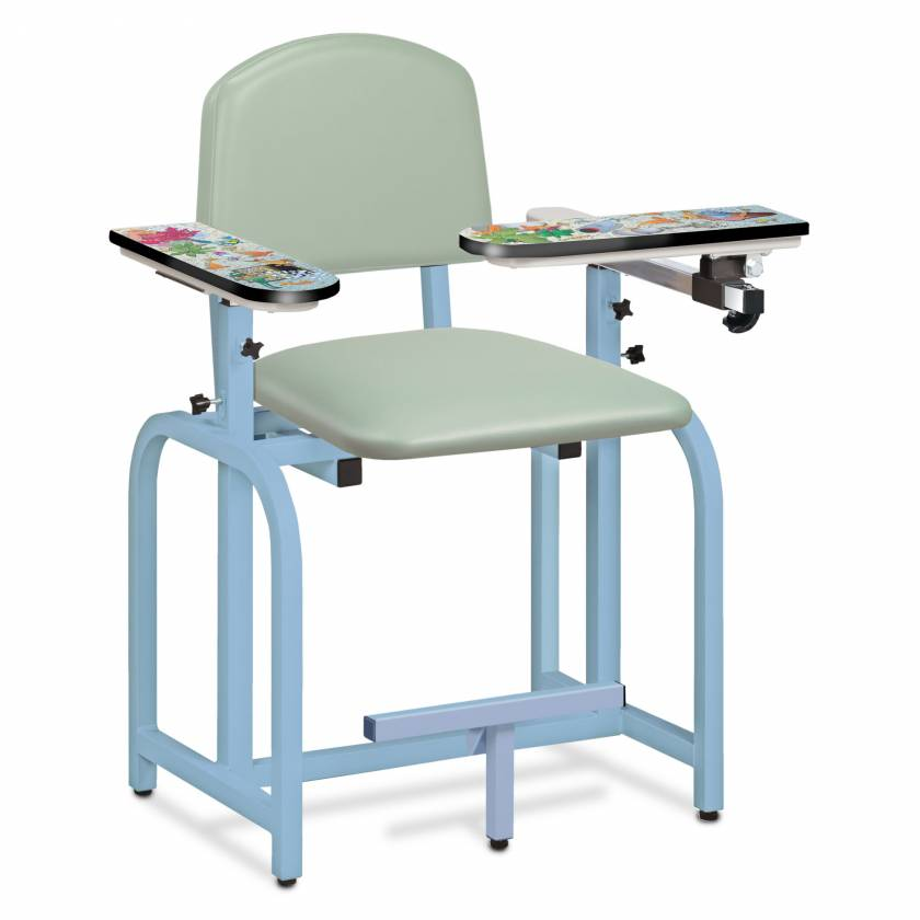 Clinton Pediatric Series Aquarium Blood Drawing Chair with Flip Arm and Right Armrest Model 66011-AQ