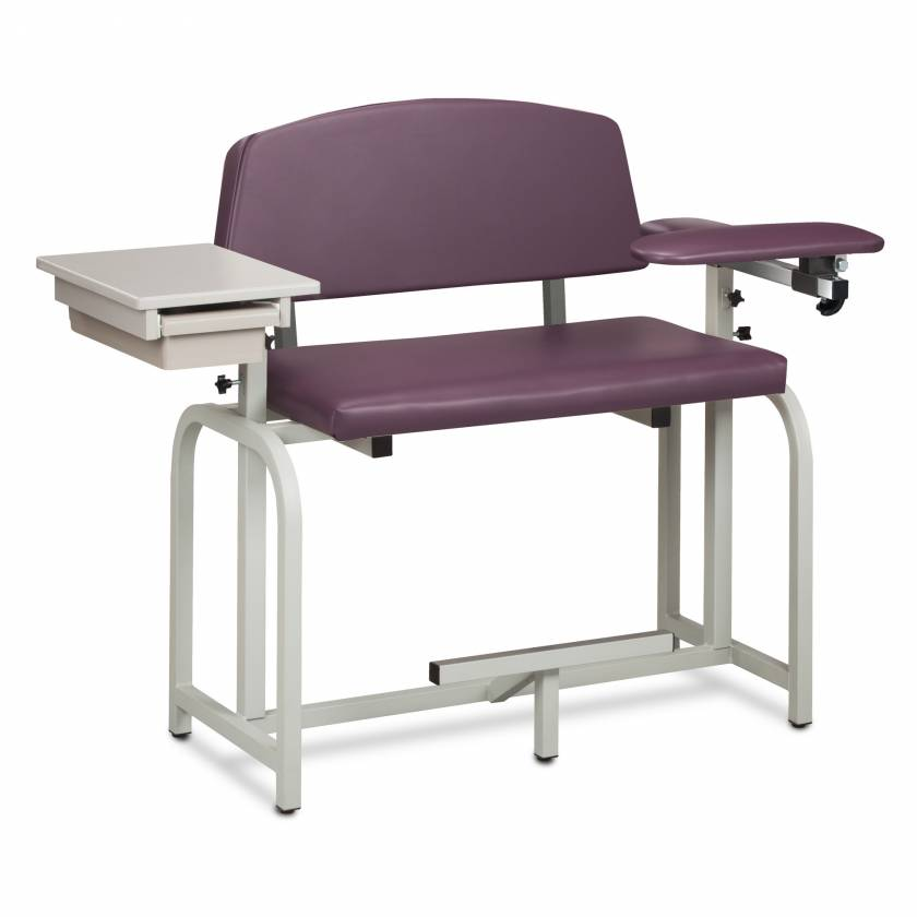 Clinton Lab X Series Extra-Wide Extra-Tall Blood Drawing Chair with Padded Flip Arm and Drawer Model 66092