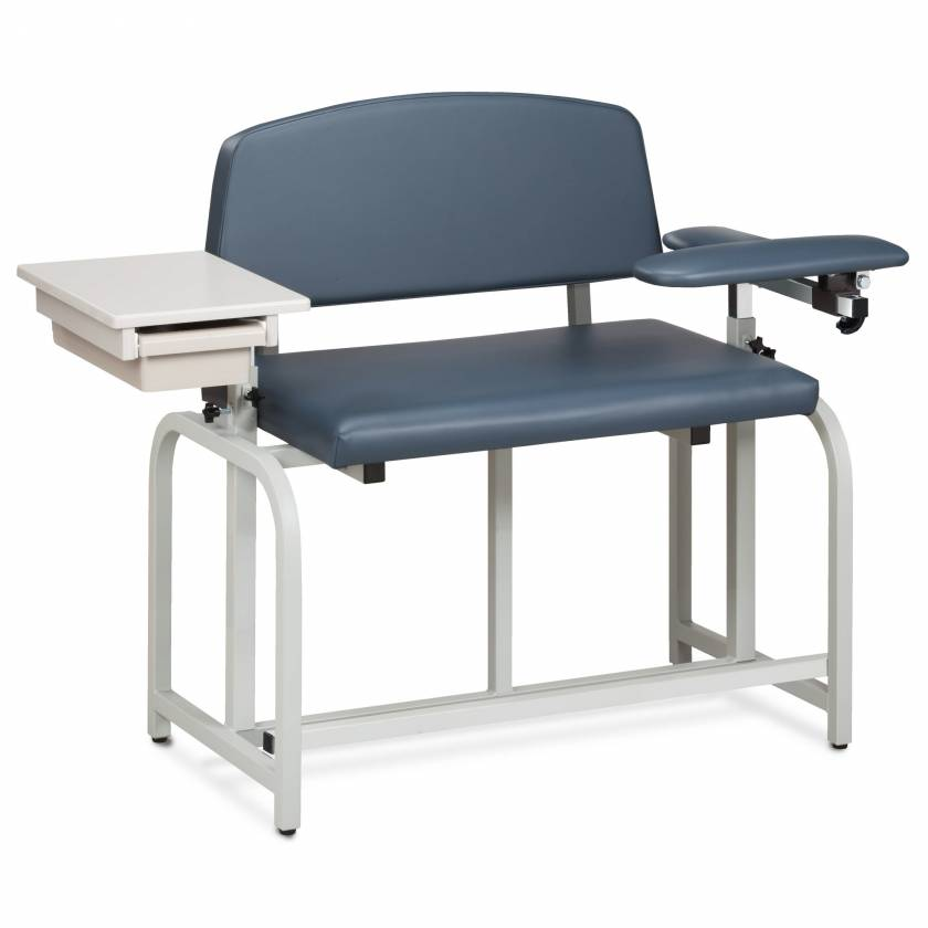 Lab X Series Bariatric Extra-Tall Blood Drawing Chair with Padded Flip Arm and Drawer