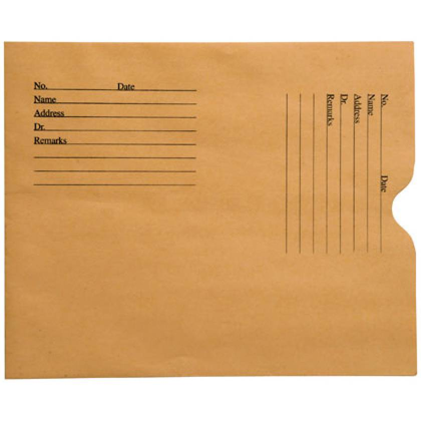 Open End Negative Preserver with Thumb Cut - Brown Kraft - Standard Imprint