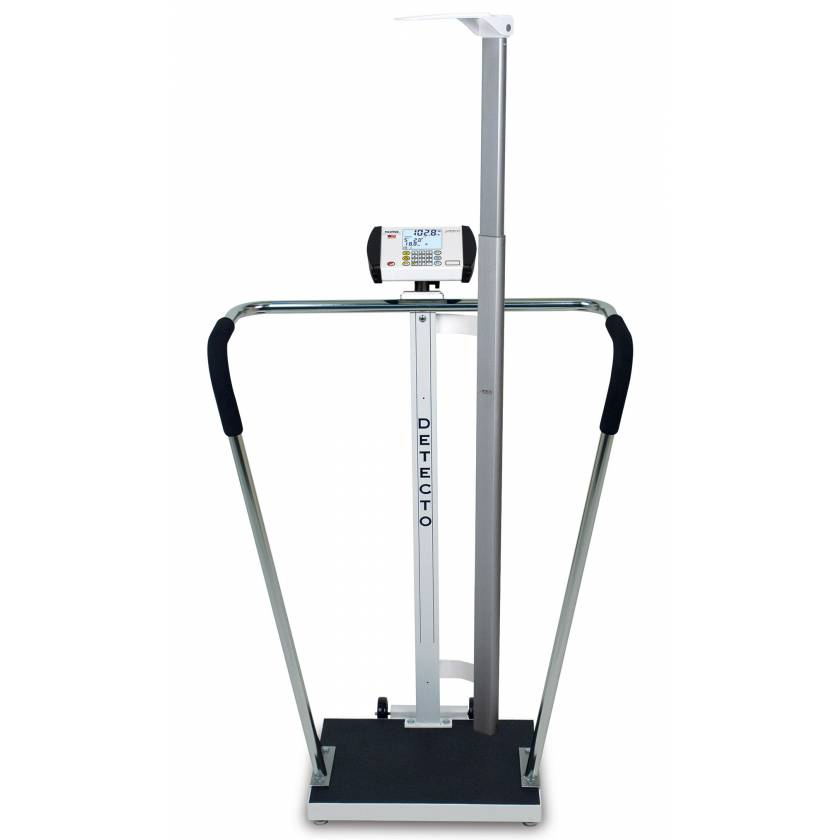 "Bariatric Digital Scale with Digital Height Rod - 600 lb Capacity - 18"" x 14"" Platform"